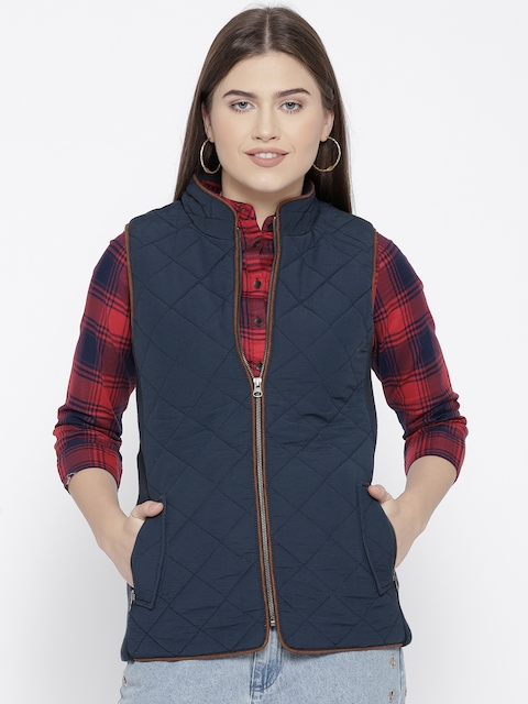 Trufit Women Navy Blue Solid Insulator Quilted Jacket