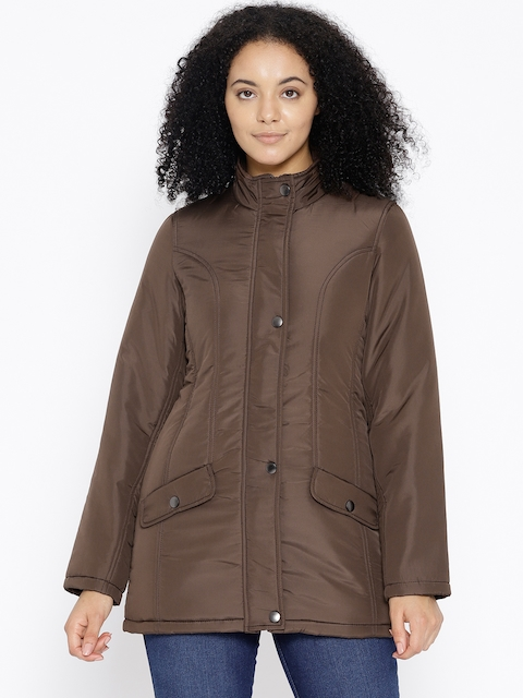 Trufit Women Coffee Brown Solid Insulator Quilted Jacket