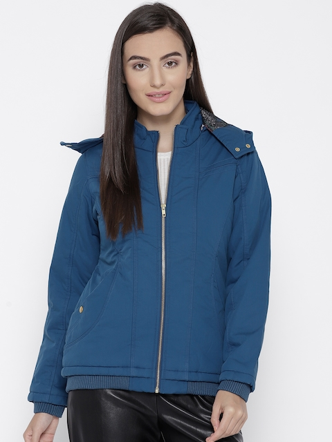 Trufit Women Blue Solid Insulator Bomber Jacket with Detachable Hood