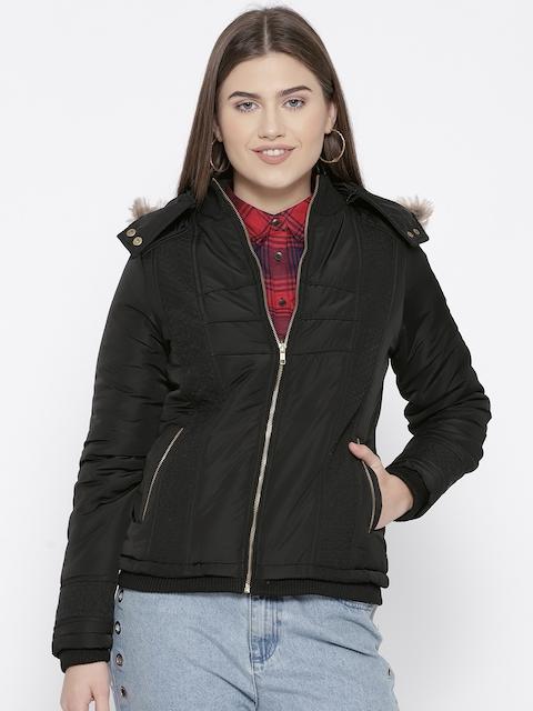 Trufit Women Black Solid Insulator Hooded Parka Jacket
