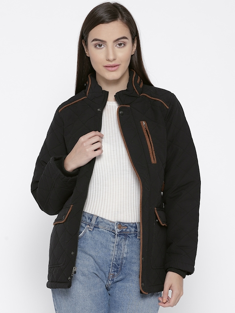 Trufit Women Black Solid Quilted Jacket