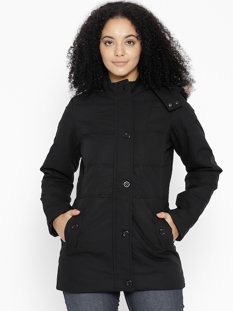 Trufit Women Black Solid Parka Jacket with Detachable Hood