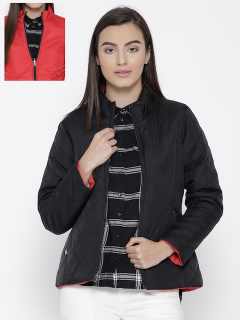 Trufit Women Black & Red Solid Reversible Quilted Jacket