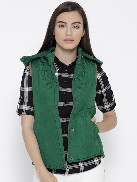Trufit Women Green Solid Hooded Sleeveless Quilted Jacket