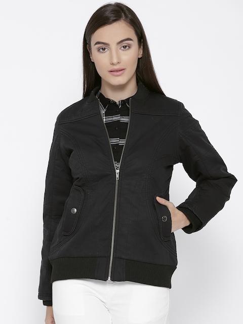 Trufit Women Black Solid Insulator Bomber Jacket