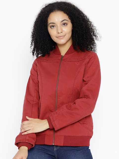 Trufit Women Red Solid Bomber Jacket
