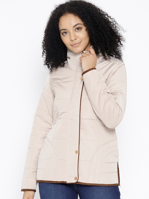 Trufit Women Beige Solid Insulator Quilted Jacket with Detachable Hood
