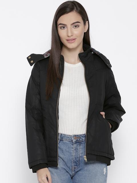 Trufit Women Black Solid Insulator Bomber Jacket with Detachable Hood