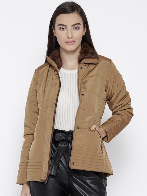Trufit Women Brown Solid Insulator Quilted Jacket