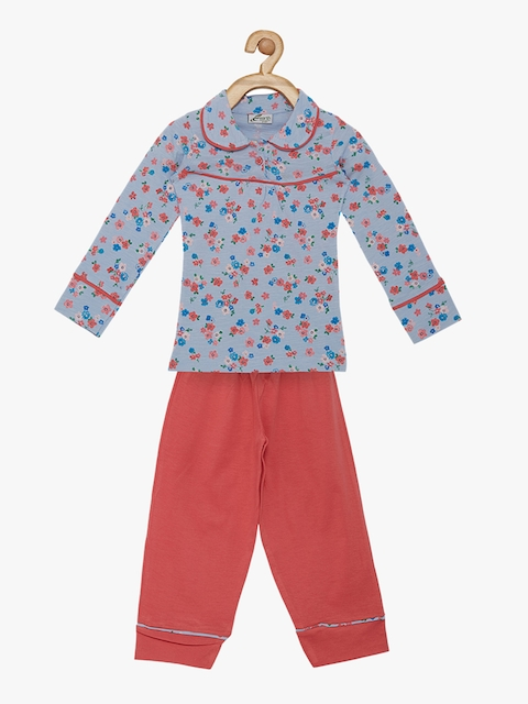 earth conscious Girls Blue & Red Printed Night suit