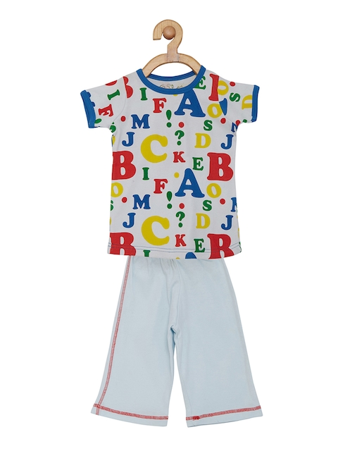 earth conscious Boys Blue & White Printed Night suit