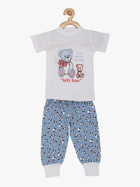 earth conscious Girls White & Blue Printed Night suit