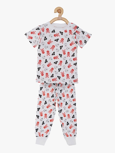 earth conscious Boys White & Red Printed Night suit