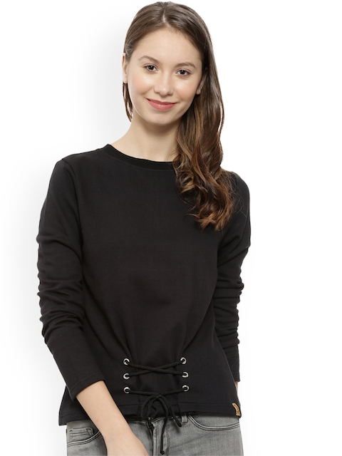 Campus Sutra Women Black Solid Sweatshirt