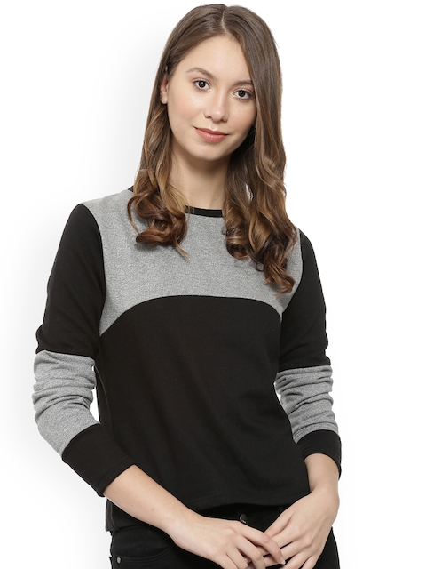 Campus Sutra Women Black & Grey Melange Colourblocked Sweatshirt