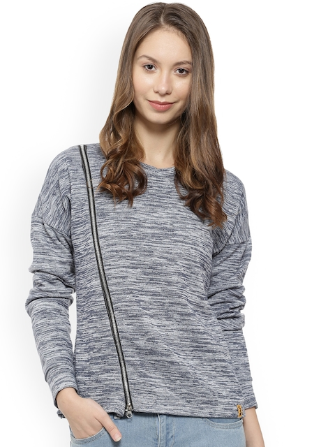 Campus Sutra Women Blue Solid Sweatshirt with Grindle Effect