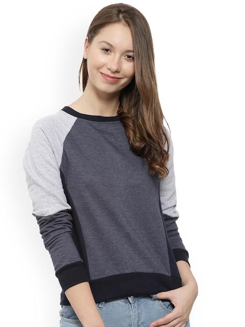 Campus Sutra Women Blue & Grey Colourblocked Sweatshirt