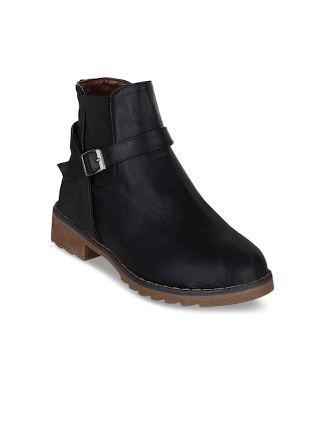 SHUZ TOUCH Women Black Solid Synthetic Mid-Top Flat Boots