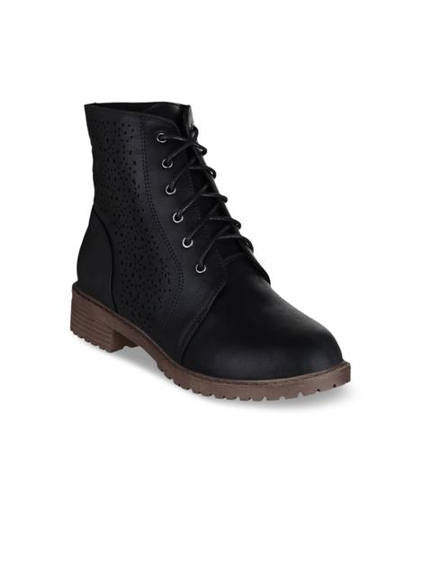 SHUZ TOUCH Women Black Textured High-Top Flat Boots