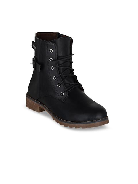 SHUZ TOUCH Women Black Solid High-Top Flat Boots