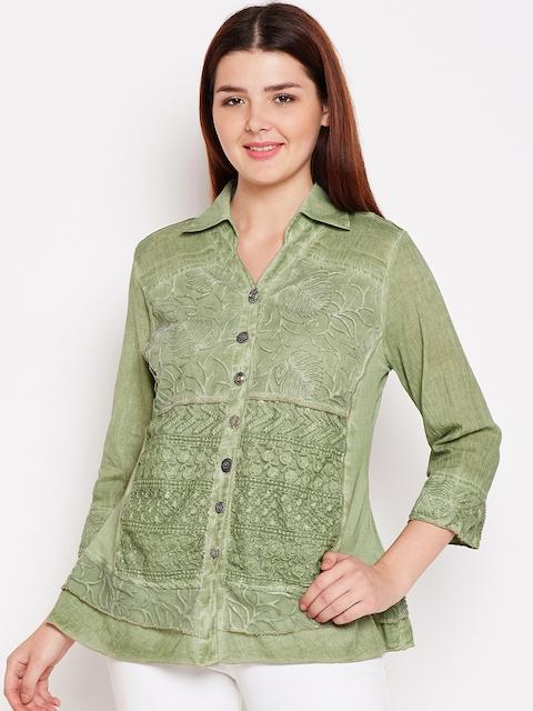 AASK Women Green Comfort Regular Fit Self Design Casual Shirt