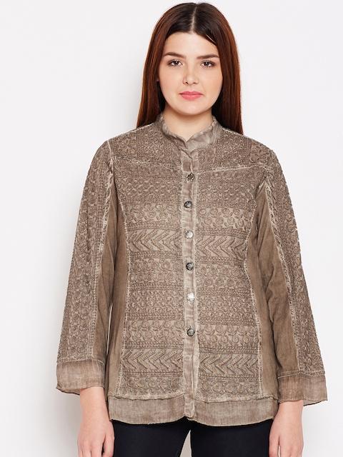 AASK Women Brown Comfort Regular Fit Self Design Casual Shirt