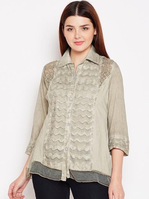 AASK Women Beige Comfort Regular Fit Self Design Casual Shirt