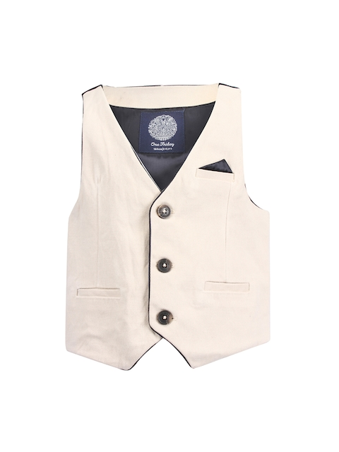 One Friday Boys Regular Fit Solid Party Wear Waistcoat