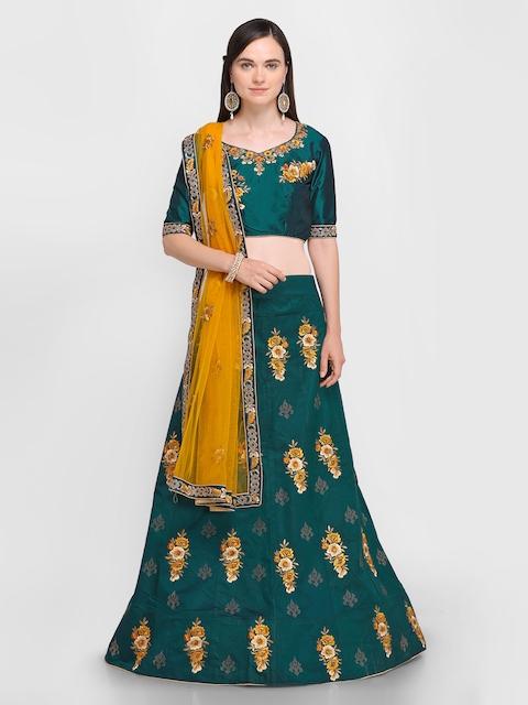 Aasvaa Green Semi-Stitched Lehenga & Blouse with Dupatta