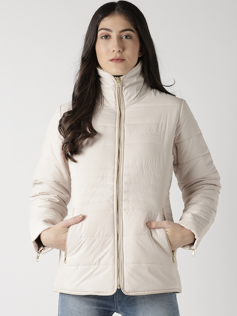 Fort Collins Women Light Beige Solid Padded Jacket