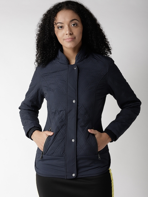 Fort Collins Women Navy Blue Solid Parka With Detachable Hood