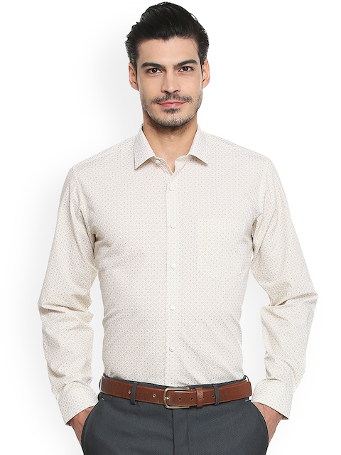 Van Heusen Men Beige Regular Fit Printed Formal Shirt
