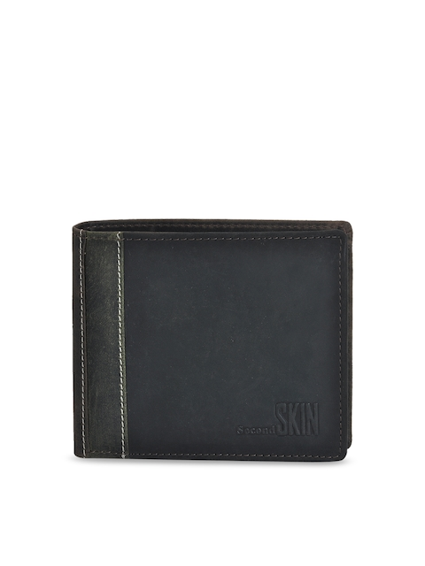 Second SKIN Men Black Solid Two Fold Leather Wallet