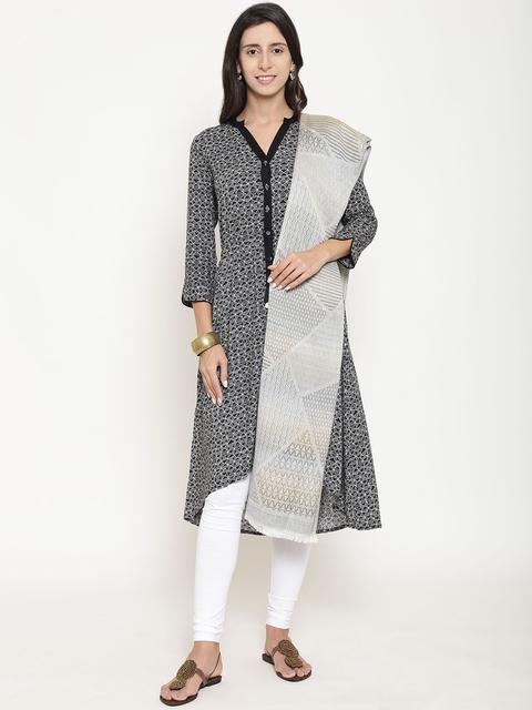 WEAVERS VILLA Women Grey Woven Design Stole