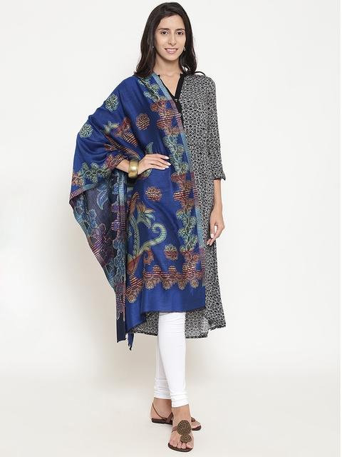 WEAVERS VILLA Women Blue Woven Design Stole
