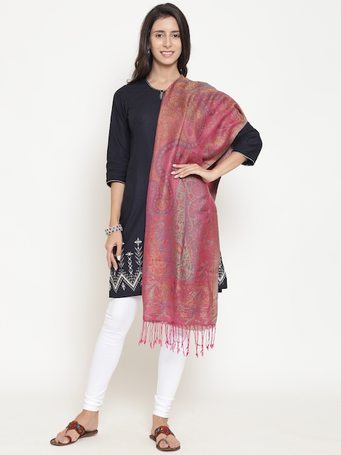 WEAVERS VILLA Women Pink Woven Design Stole
