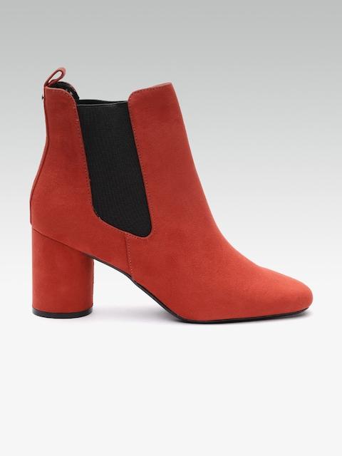 DOROTHY PERKINS Women Rust Orange Solid Heeled Boots