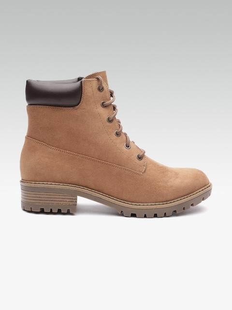 DOROTHY PERKINS Women Tan Brown Solid Mid-Top Flat Boots