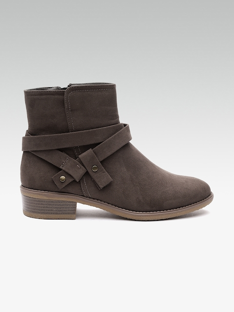 DOROTHY PERKINS Women Brown Solid Textile Mid-Top Flat Boots