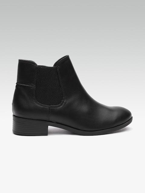 DOROTHY PERKINS Women Black Solid Mid-Top Flat Boots
