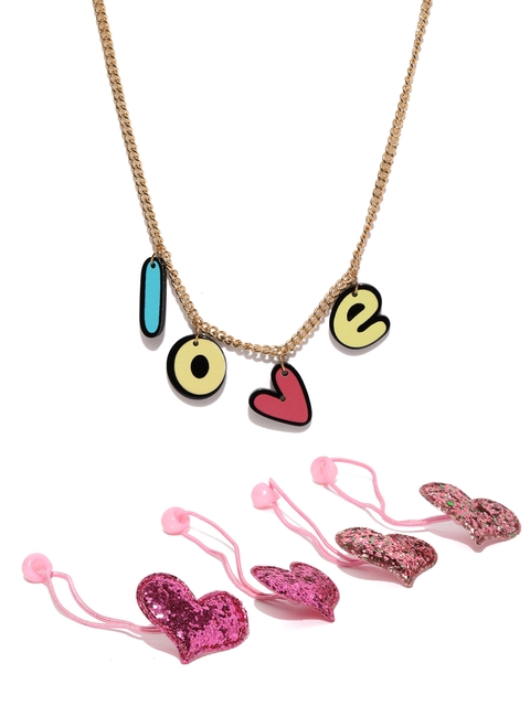lil star Girls Pink Pack of 2 Embellished Hair Accessory Set With a Necklace