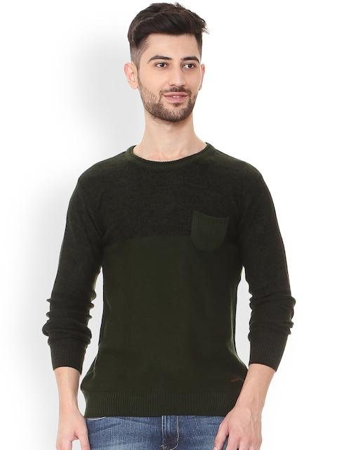 People Men Olive Green & Black Self Design Pullover