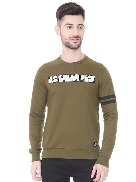 People Men Olive Green Solid Sweatshirt