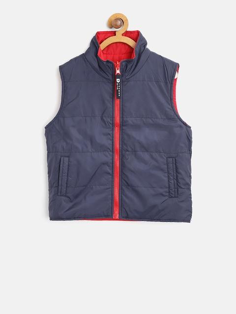 612 league Boys Navy Blue Solid Sleeveless Reversible Padded Jacket