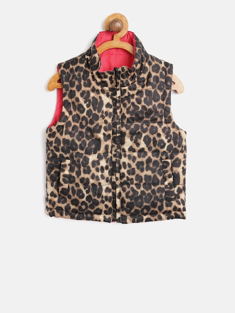 612 league Girls Brown & Pink Leopard Print Reversible Padded Jacket
