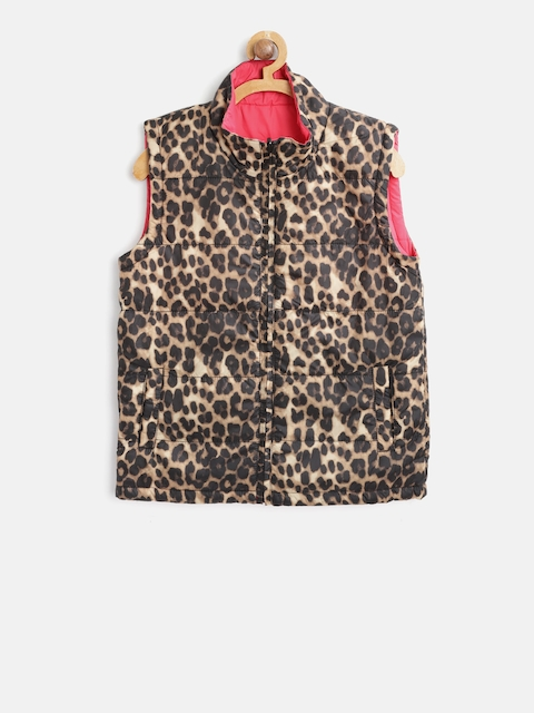 612 league Girls Brown & Pink Leopard Print Reversible Sleeveless Padded Jacket