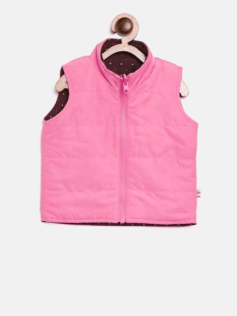 612 league Girls Pink & Brown Printed Reversible Padded Jacket