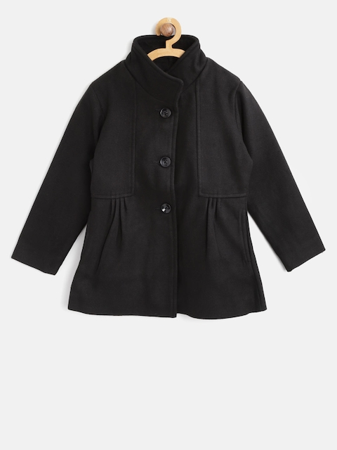 612 league Girls Black Solid Pea Coat