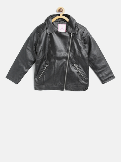 612 league Girls Black Solid Biker Jacket