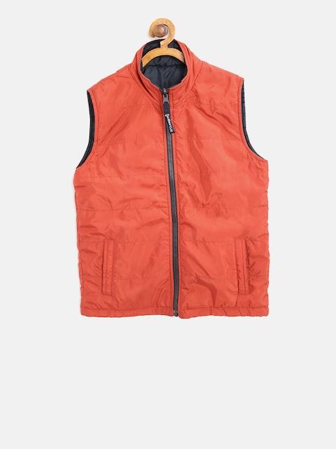 612 league Boys Rust Orange & Navy Solid Reversible Padded Jacket
